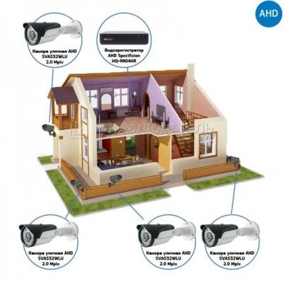 Комплект видеонаблюдения AHD для дома на 4 камеры