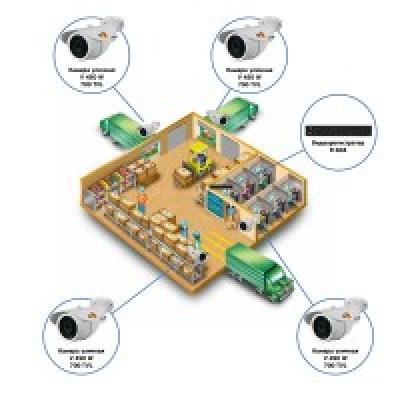 Комплект видеонаблюдения AHD для склада на 4 камеры
